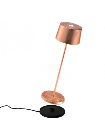 Lampada a led da tavolo Olivia Pro Foglia Rame ricaricabile e dimmerabile con batteria fino a 9 ore. Da esterno IP65.