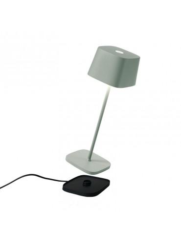 Lampada a led da tavolo Ofelia Pro Salvia ricaricabile e dimmerabile con batteria fino a 9 ore. Da esterno IP65.