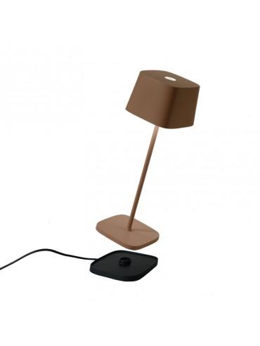 Lampada a led da tavolo Ofelia Pro Corten ricaricabile e dimmerabile con batteria fino a 9 ore. Da esterno IP65.
