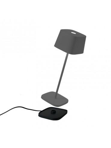 Lampada a led da tavolo Ofelia Pro Grigio Scuro ricaricabile e dimmerabile con batteria fino a 9 ore. Da esterno IP65.