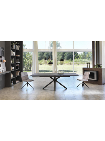 Tavolo allungabile moderno fino a 240cm colore grigio grafite, top in ceramica. Due allunghe, alta qualità. Stones OM/313/GR.