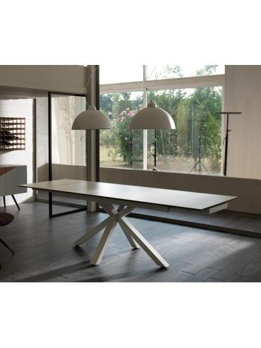 Tavolo allungabile moderno fino a 240cm colore bianco, top in ceramica. Due allunghe, alta qualità. Stones OM/313/BI.