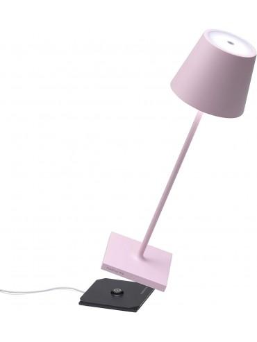 Lampada a led da tavolo Poldina Pro rosa ricaricabile e dimmerabile con batteria fino a 9 ore. Da esterno IP54.