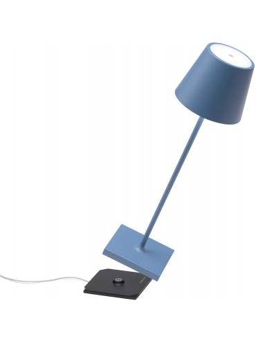 Lampada a led da tavolo Poldina Pro blu avio ricaricabile e dimmerabile con batteria fino a 9 ore. Da esterno IP54.