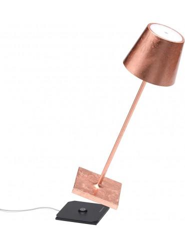 Lampada a led da tavolo Poldina Pro foglia rame ricaricabile e dimmerabile con batteria fino a 9 ore. Da esterno IP54.